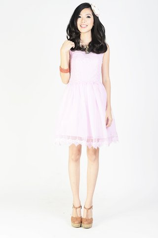 Lee-Lo embroidery and lace dress in Lilac