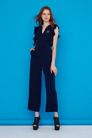 Karen Flutter sleeves jumpsuit in Navy