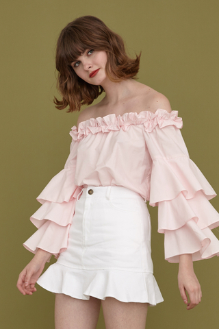 Grazia offshoulder tiered sleeve top in pink