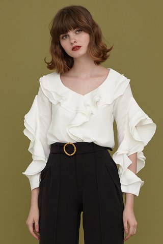 MEGAN Frill Split Sleeves Top in white