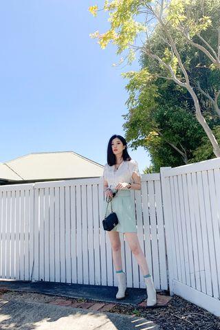 Koa belted shorts in Seafoam green