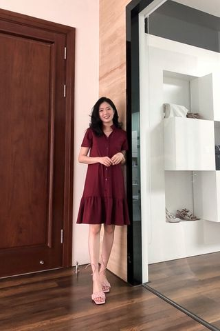 Sasha Shirtdress in wine