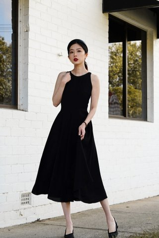 Izabella Fit and Flare midi dress in Black