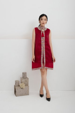 Ping An Embroidered A-line Dress in Wine