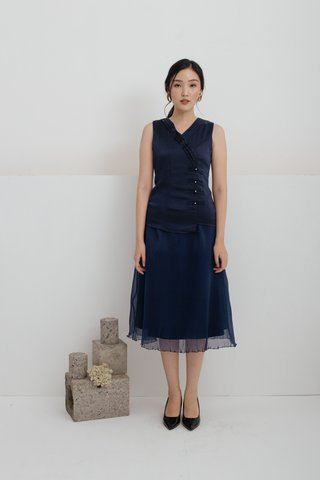 Huan Xi Vest and Pleated Skirt Set In Navy Blue