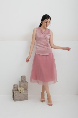 Huan Xi Vest and Pleated Skirt Set In Pink